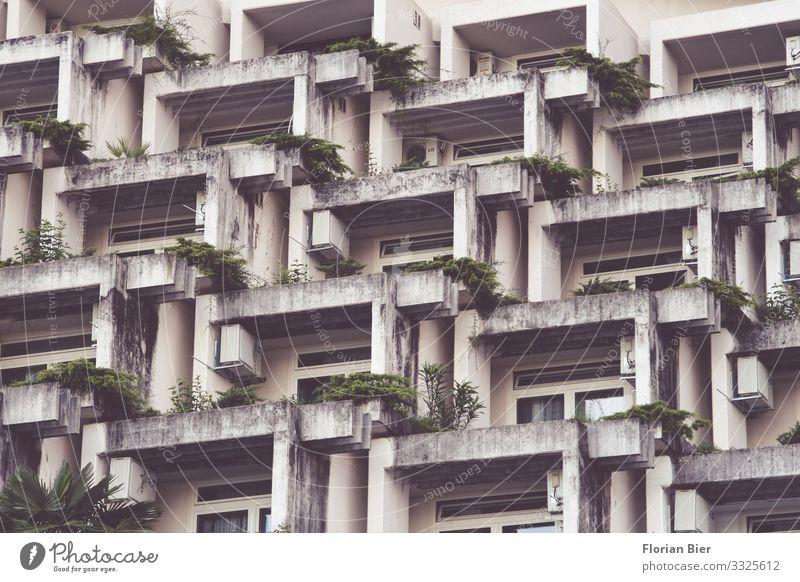 Plattenbau Beton Wohnsiedlung Haus Mauer Wand Fassade Balkon Häusliches Leben Aggression alt dreckig dunkel Zusammensein Billig hässlich kalt klein trashig