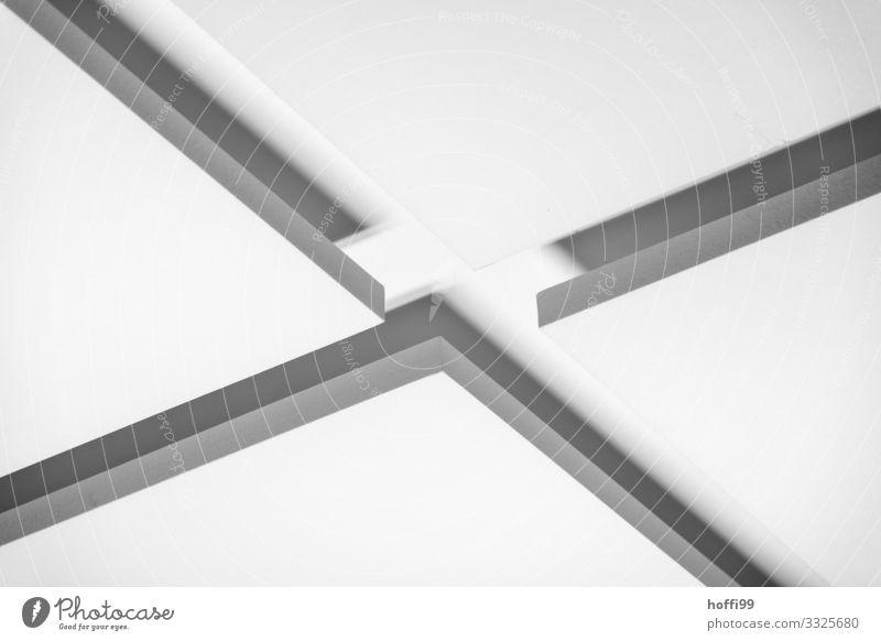 Schattenwurf Gebäude Mauer Wand ästhetisch hell modern grau weiß Design Zufriedenheit gleich innovativ komplex Kunst Mittelpunkt Ordnung Ferne ruhig