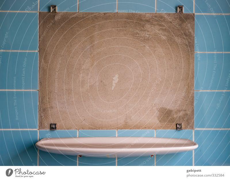 555 | Einfach Wunschbild einkleben und fertig Haus Bad Badezimmerspiegel Badezimmerarmatur Fliesen u. Kacheln blau Textfreiraum kaputt leer Spiegelbild kariert