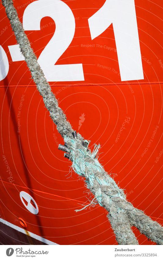 Rot-Tau-21 Seil Festmacher Schifffahrt Wasserfahrzeug Schiffsrumpf Bordwand Ziffern & Zahlen Knoten festhalten warten maritim stark rot Kraft Sicherheit