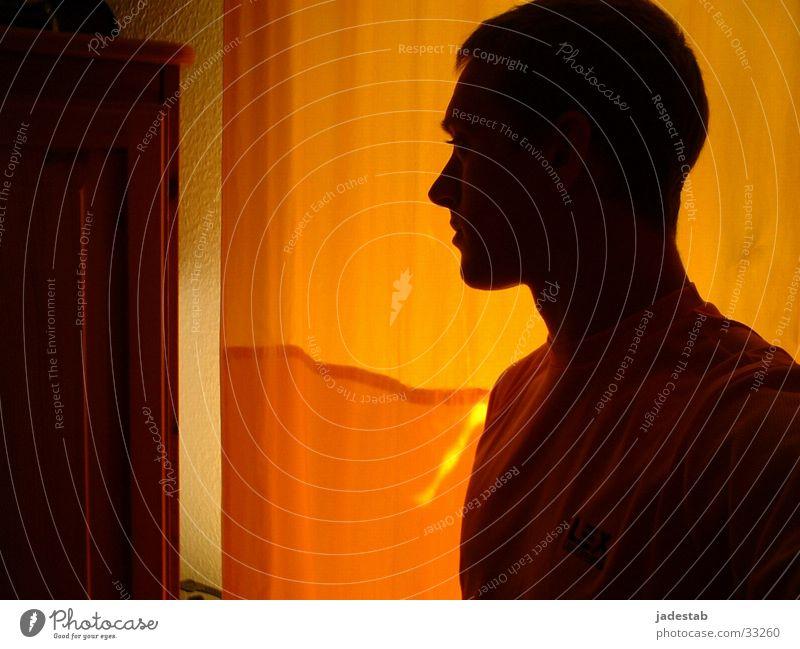 orange thoughts Mann Traurigkeit Denken Wärme Gedanke