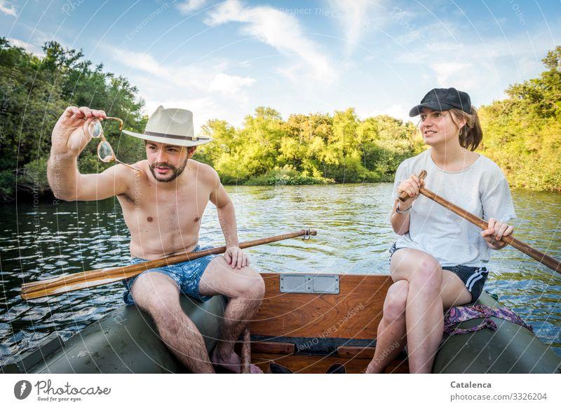 Den Durchblick bewahren Ausflug Sommer Sommerurlaub Wassersport Paddeln Rudern Junge Frau Jugendliche Junger Mann 2 Mensch Landschaft Himmel Wolken