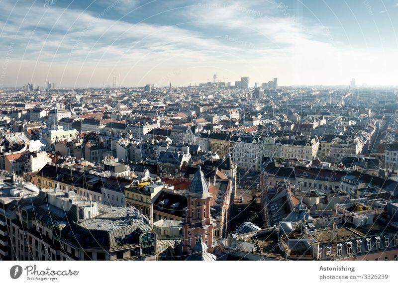 Wien Umwelt Natur Luft Himmel Wolken Horizont Sommer Wetter Österreich Stadt Hauptstadt Stadtzentrum Skyline Haus Hochhaus Bankgebäude Kirche Turm Bauwerk