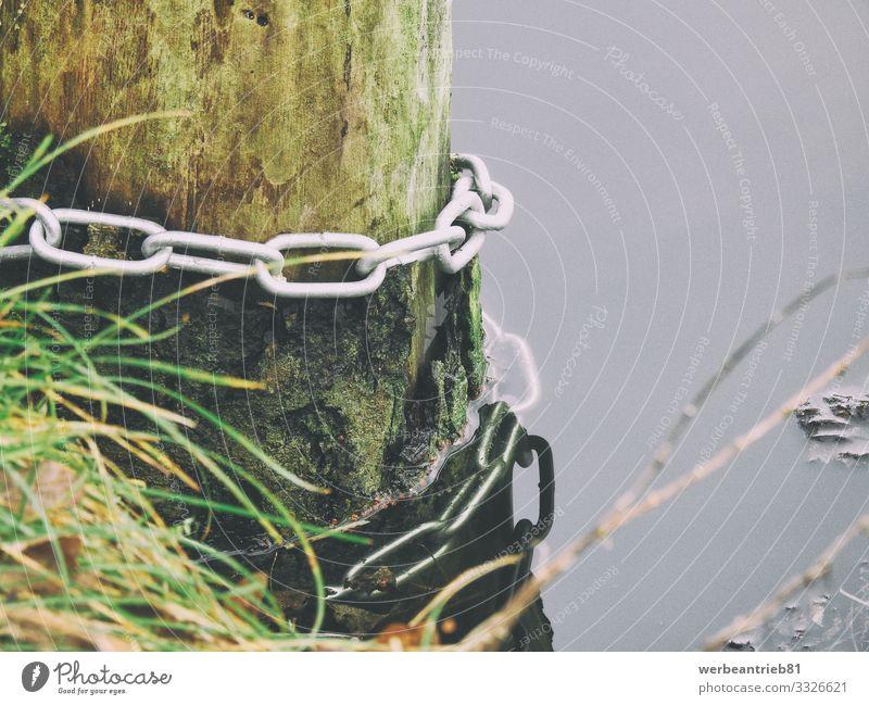 Ketten-Befestigung an einem Holzbalken im Wasser Freizeit & Hobby Angeln Ausflug Abenteuer Freiheit Kreuzfahrt Camping Wassersport Schwimmen & Baden tauchen