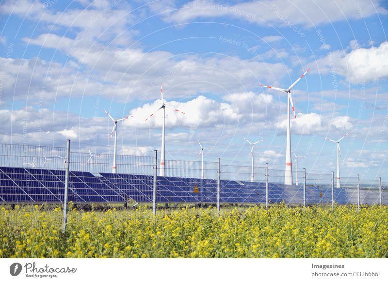 Erneuerbare Energien Technik & Technologie Energiewirtschaft Sonnenenergie Windkraftanlage Energiekrise Industrie Umwelt Natur Landschaft Wiese Feld
