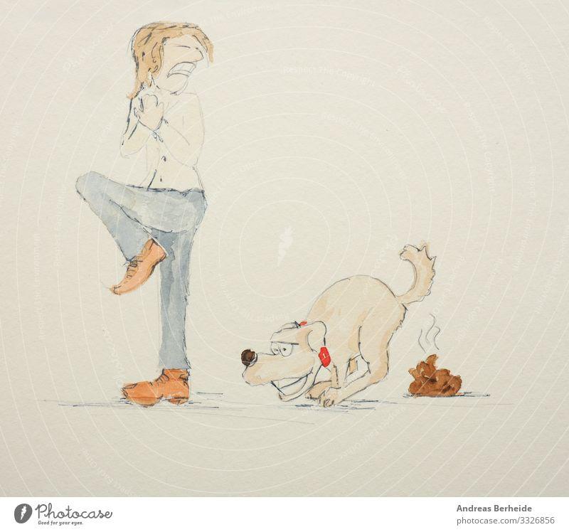 Dog owner is disgusted of the dog poo Freude Mensch 1 Haustier Hund Tier Tierliebe Ekel train defecate friend Grafik u. Illustration drawing Lebewesen cute Witz