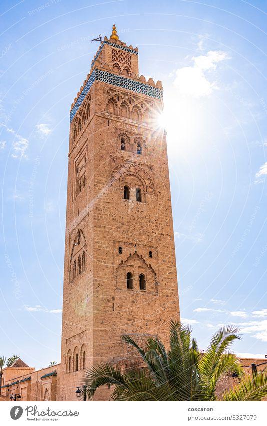 Minarett der Koutoubia-Moschee im Medina-Viertel von Marrakesch Ferien & Urlaub & Reisen Tourismus Ausflug Sommer Sommerurlaub Kultur Himmel Sonne Sonnenlicht