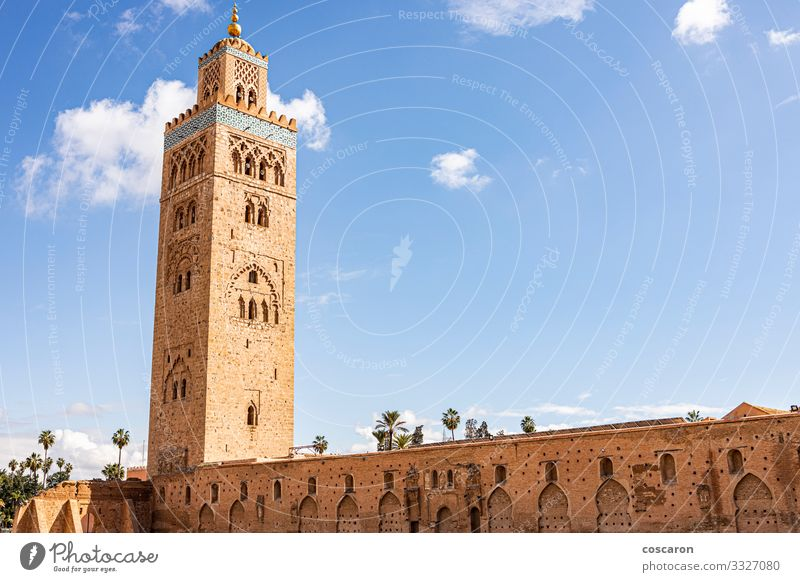 Minarett der Koutoubia-Moschee in Marrakesch Ferien & Urlaub & Reisen Tourismus Ausflug Sommer Sommerurlaub Kunst Himmel Kleinstadt Stadt Hauptstadt