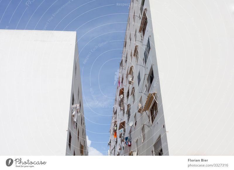"""Auf Gute Nachbarschaft Ibiza Stadt Spanien Balearen bevölkert Haus Mauer Wand Fenster Häusliches Leben authentisch Billig trist viele mehrfarbig """"Haus Wohnen"""