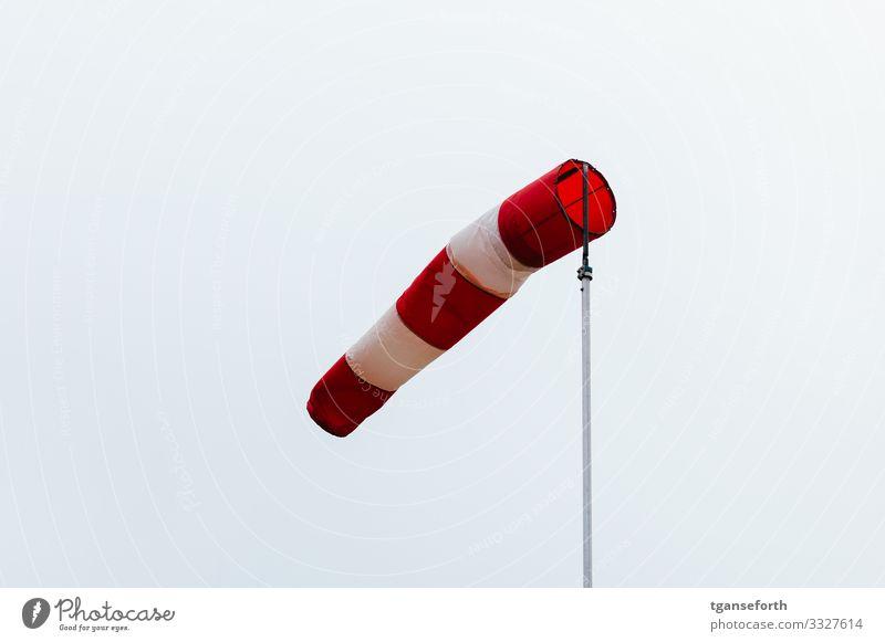 Windfahne Messinstrument Wolkenloser Himmel Klima Klimawandel Wetter Unwetter Sturm Tanzen toben einfach wild rot weiß Zukunftsangst Farbfoto Außenaufnahme