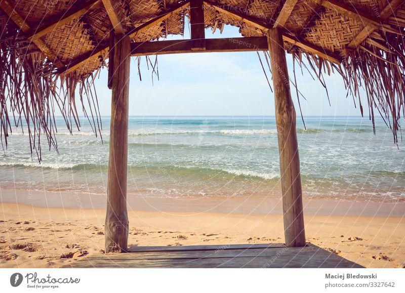 Tropischer Strandschatten aus Holz. Lifestyle Erholung ruhig Meditation Ferien & Urlaub & Reisen Tourismus Ausflug Freiheit Sommer Sommerurlaub Meer Insel Natur