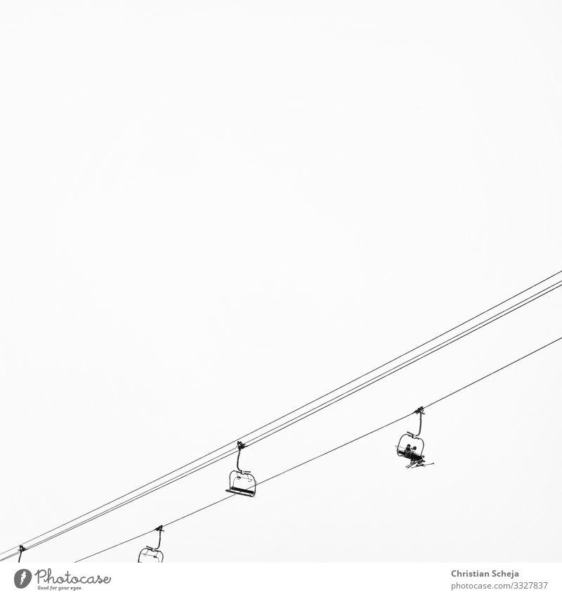 Up! Ferien & Urlaub & Reisen Winter Schnee Winterurlaub Sport Wintersport Skifahren Skier Snowboard Skilift Skipiste 2 Mensch Seilbahn Wachstum Erfolg silber