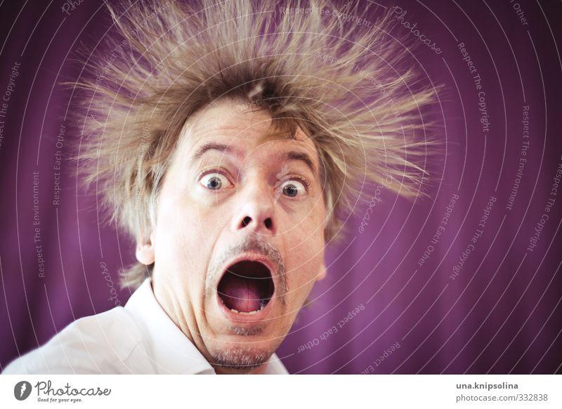 aaaaaaaahhhhhh! Mensch Mann Freude Gesicht Erwachsene Gefühle lustig Haare & Frisuren außergewöhnlich blond stehen verrückt Elektrizität Kreativität Neugier