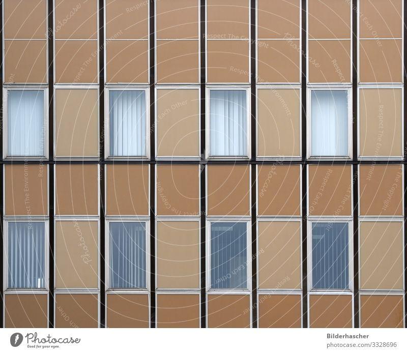 Hausfassade mit Fenstern Fensterrahmen Bürogebäude Neubau Fensterscheibe Glas Architektur Detailaufnahme braun beige Gebäude Fassade antik Rahmen Jalousie Turm