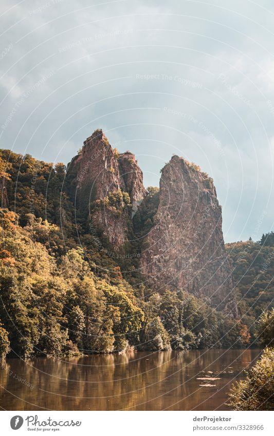 Felsen an der Nahe mit viel Himmel Panorama (Aussicht) Sonnenlicht Textfreiraum Mitte Textfreiraum links Urlaubsgrüße Naturwunder Fluss Flussufer Abenteuer
