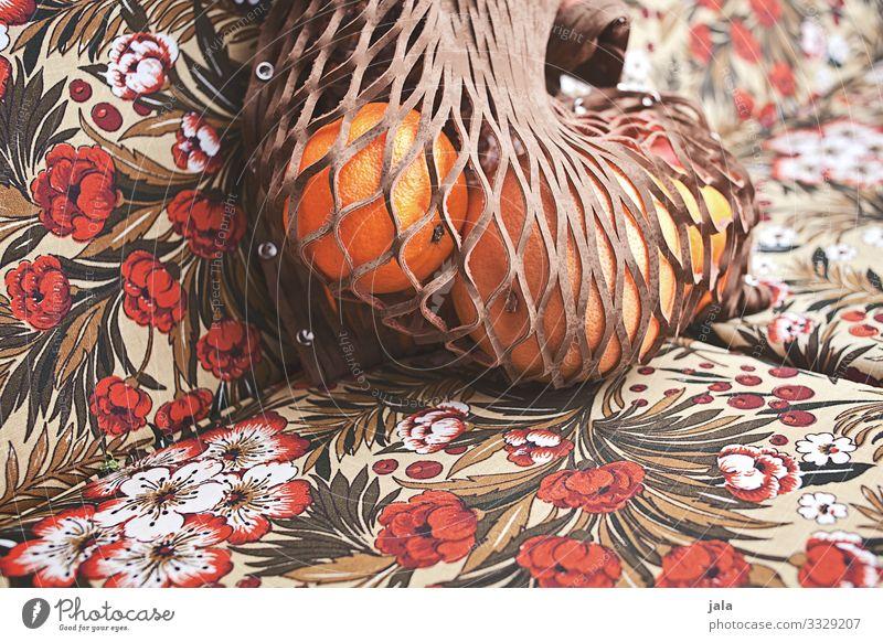 obst Lebensmittel Frucht Orange Bioprodukte Vegetarische Ernährung frisch Gesundheit natürlich trashig Tasche Beutel Farbfoto Außenaufnahme Menschenleer Tag