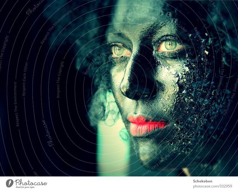 black is beautiful feminin Haut Kopf Haare & Frisuren Gesicht Auge Mund Lippen 1 Mensch Maske schwarzhaarig Locken Perücke Rastalocken Afro-Look Kristalle