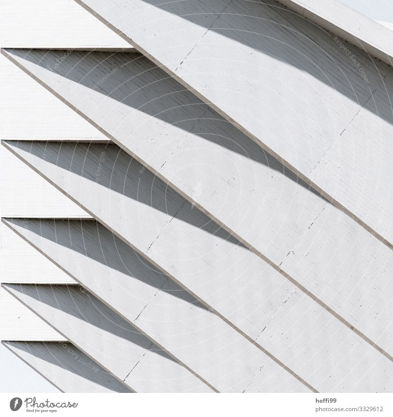 Stützpfeilerreihe Gebäude Stadthalle Lagerhalle Ausleger Beton Betonwand Mauer Wand Fassade Dach Linie ästhetisch dick elegant fest modern stark trocken grau