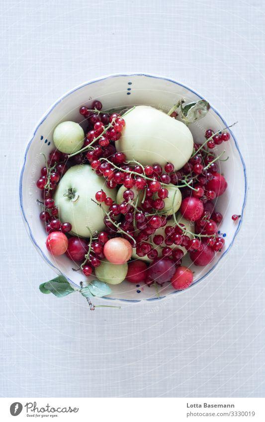 Gartenobst Lebensmittel Frucht Apfel Beeren Johannisbeeren Mirabelle Ernährung Bioprodukte Vegetarische Ernährung Geschirr Schalen & Schüsseln Sommer Blatt