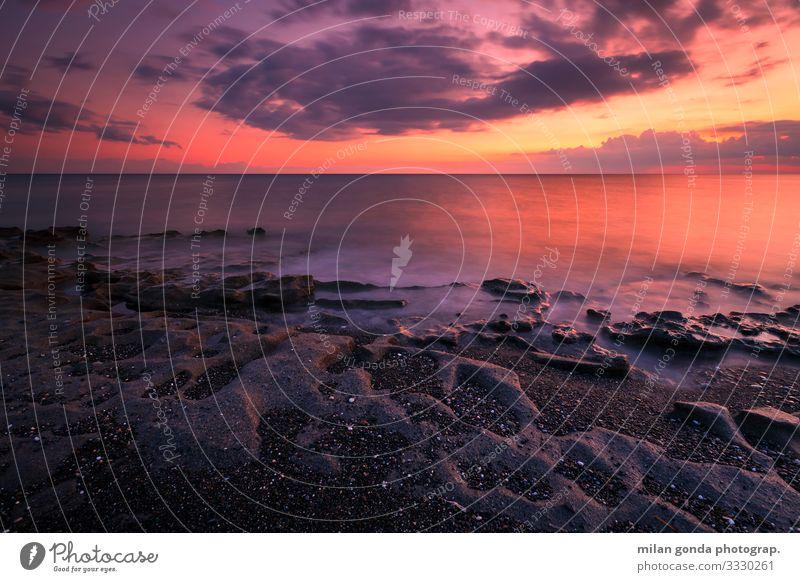 Natur Meer Strand Küste Felsen Sand Europa Gelassenheit Abenddämmerung Griechenland