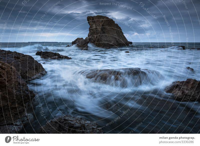 Natur Meer Strand Küste Felsen Stimmung Europa Griechenland dramatisch