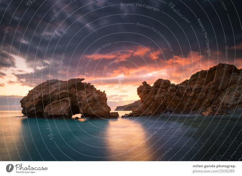 Natur Meer Strand Küste Stimmung Europa Abenddämmerung Griechenland Felsbogen Heraklion
