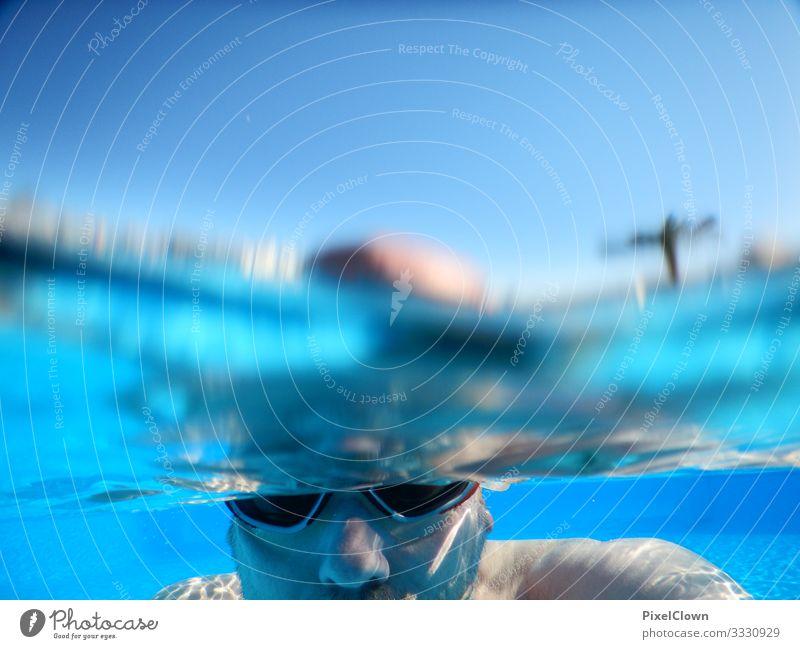 Taucher Lifestyle Freude Ferien & Urlaub & Reisen Tourismus Sommerurlaub Strand Meer Schwimmen & Baden tauchen Mensch maskulin Mann Erwachsene Männlicher Senior