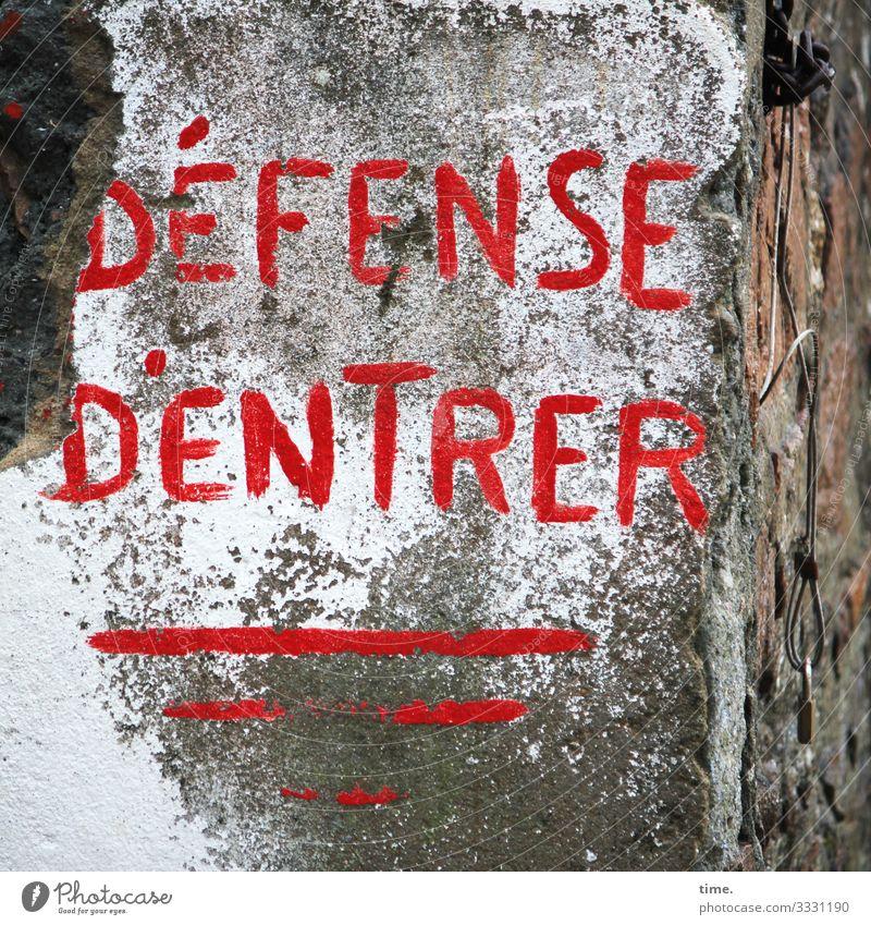 die meinen es ernst | Geschriebenes Stadt Farbe rot Wand Wege & Pfade Mauer Stein Schriftzeichen Schilder & Markierungen Perspektive Vergänglichkeit
