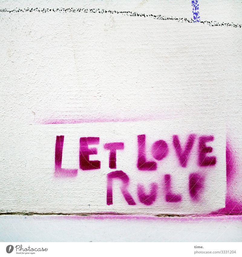 pink imperative Mauer Wand Dekoration & Verzierung Stein Schriftzeichen Graffiti Linie Streifen wild rosa Willensstärke Macht Leidenschaft Liebe Leben Design