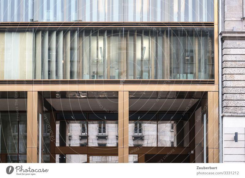 Fassade Gold-Glas Büro Berlin Berlin-Mitte Stadtzentrum Haus Bankgebäude Bauwerk Architektur Mauer Wand Fenster Gardine Lamellenjalousie eckig glänzend kalt