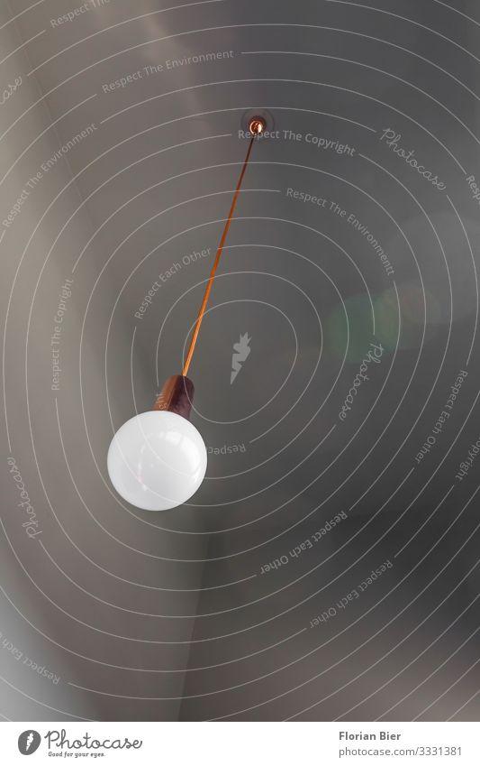 """Shine Bright Decke Lampe Beton Glas Metall hängen Häusliches Leben ästhetisch retro rund Stadt grau orange Coolness sparsam Design Stil """"Lampe Kabel Interieur"""