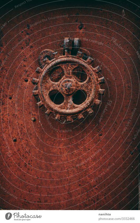 Details einer alten Metallindustrieanlage Tapete Industrie Rost verblüht dreckig dunkel retro rot schwarz Grunge Kruste altehrwürdig antik datiert verrostet