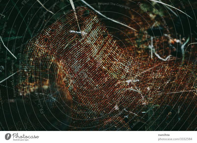 Rostige Textur mit Metallsteg Grunge rostig geknackt wirklich Farbe alt verrostet oxidiert Tapete Oberfläche dunkel verblüht Bild Ressource abstrakt Kontrast