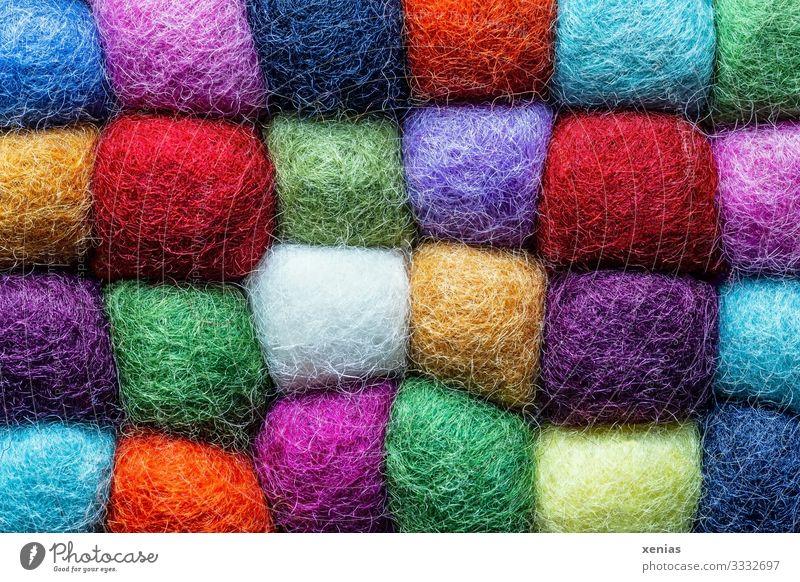 Bunte kuschelnde Wollquadrate Wolle Untersetzer Kunststoff eckig weich mehrfarbig Vielfältig Nähgarn Zusammensein viele xenias Quadrat Schurwolle Farbfoto