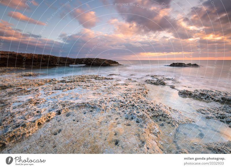 Kreta. Strand Meer Natur Küste Gelassenheit ruhig Europa mediterran Griechenland Crete Lasithi Goudouras Atherina-Strand Sonnenuntergang Felsbogen