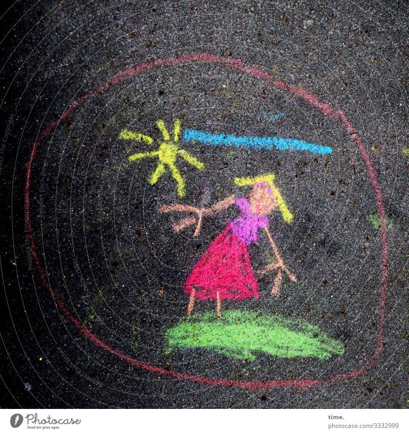 Mama hat Ferien feminin Frau Erwachsene 1 Mensch Kunst Kunstwerk Gemälde Zeichnung Wolken Sonne Wiese Felsen T-Shirt Rock blond Kreidezeichnung stehen