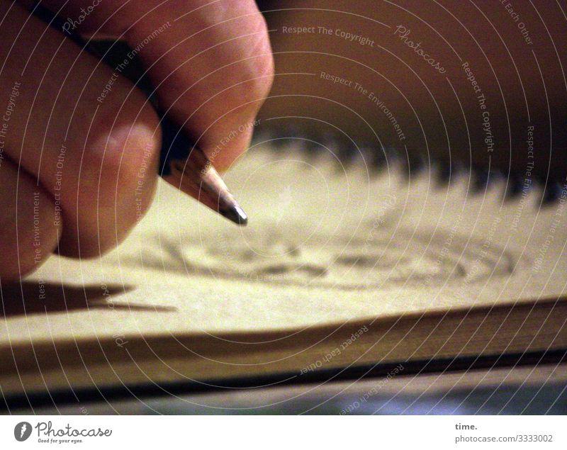 abgehoben, um neu anzusetzen Mensch Hand 1 Kunst Künstler Maler Kunstwerk Gemälde Bleistift Zeichnung Papier Ringbuchordner beobachten Denken festhalten