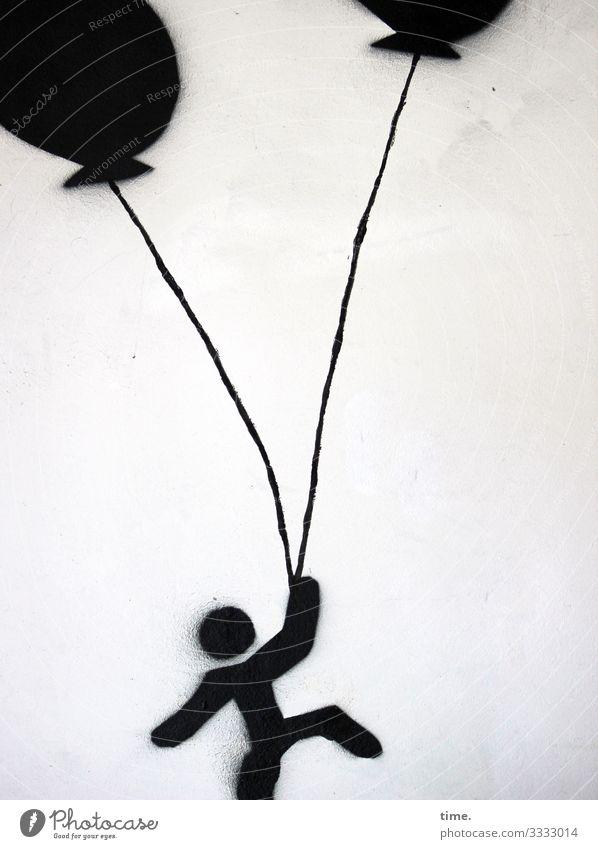 black balloon rising Kunst Gemälde Theaterschauspiel Tanzen Mauer Wand Luftballon Figur Zeichnung Stein Zeichen Ornament Graffiti springen dunkel Fröhlichkeit