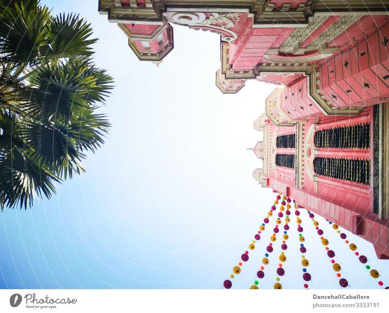 rosa Kirche mit Lampions und Palme mit Blick von unten katholisch Ho chi minh Stadt Ho-Chi-Minh-Stadt Saigon Kirchturm Religion & Glaube Vietnam Sommer