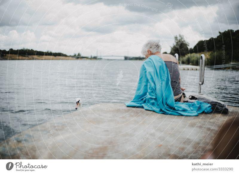 Baden in Wien Schwimmen & Baden Sommerurlaub Wellen feminin Weiblicher Senior Frau Leben 60 und älter Klima Klimawandel Fluss 1 Tier Kommunizieren frei kalt