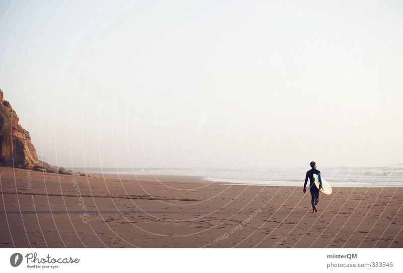 Going out I Mann Jugendliche Ferien & Urlaub & Reisen Einsamkeit Freude ruhig Strand Küste Sand Stil Horizont Kunst maskulin Wellen Freizeit & Hobby elegant