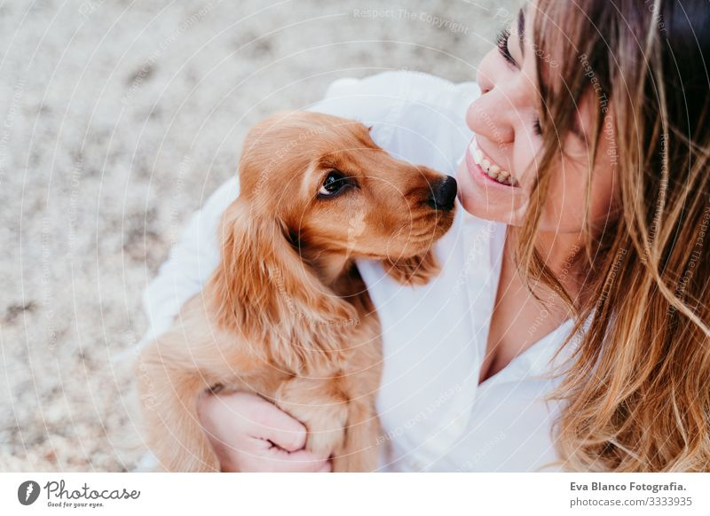 junge Frau und ihr süßer Cockerspaniel-Welpe im Freien in einem Park Hund Haustier Sonnenstrahlen Außenaufnahme Liebe Umarmen Lächeln Rückansicht Küssen züchten