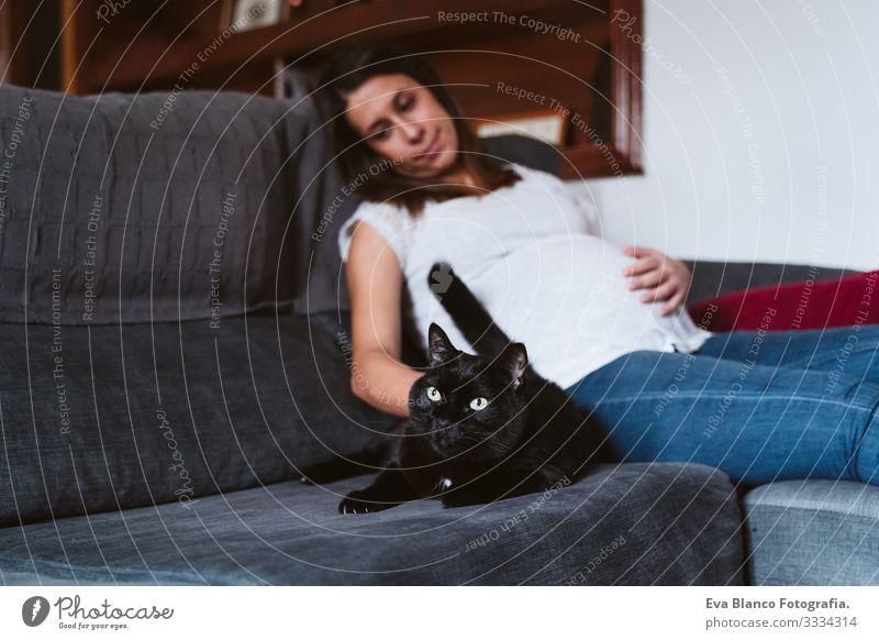 junge schwangere Frau zu Hause mit ihrer schwarzen Katze, die auf dem Sofa liegt Jugendliche heimwärts Leben bauchfrei Erholung