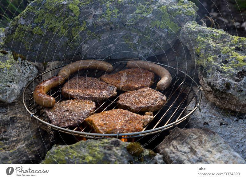 Freiluftgrillen Lebensmittel Fleisch Wurstwaren Ernährung Abendessen Essen Grill Grillen Mahlzeit Steak Fleischesser Außenaufnahme