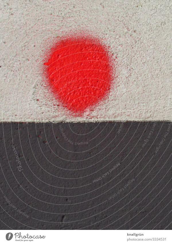 Red Dot Haus Mauer Wand Graffiti Punkt rund rot schwarz weiß Farbe Kunst Farbfoto Außenaufnahme Menschenleer Textfreiraum links Textfreiraum rechts