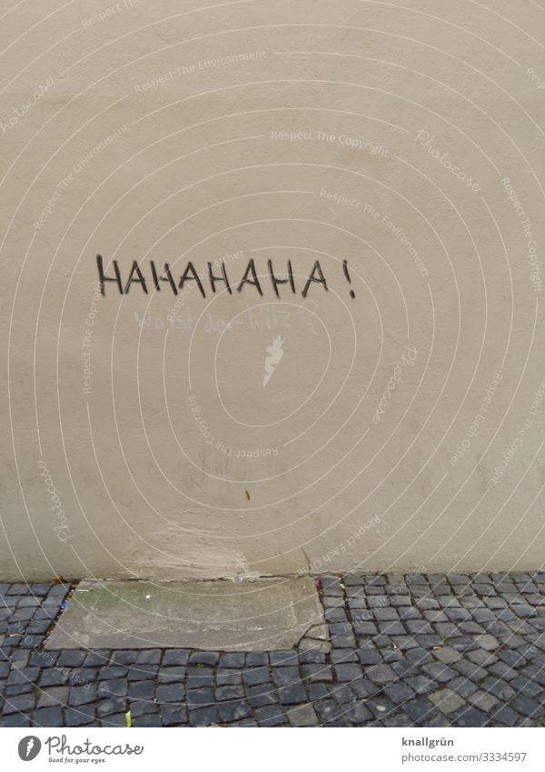 HAHAHAHA ! Stadt Mauer Wand Graffiti Kommunizieren lachen grau schwarz Gefühle Freude Stimmung Kopfsteinpflaster Farbfoto Außenaufnahme Menschenleer