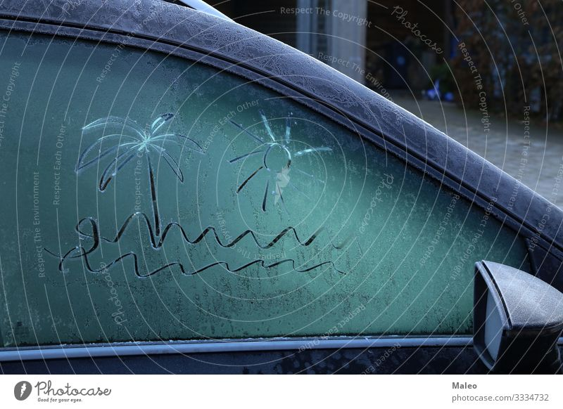 Zeichnung auf gefrorenem Autofenster an einem eisigen Morgen Hintergrundbild PKW kalt Frost Glas Eis Schnee Schneefall Wetter weiß Fenster Winter Jahreszeiten