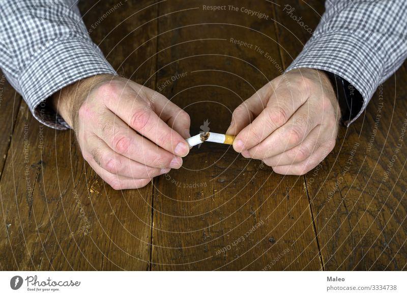 Gebrochene Zigarette Sucht Zigarettenasche Bronchien Krebs Konzepte & Themen gefährlich Risiko Tod Abhängigkeit Krankheit Rauschmittel Filter Geschmackssinn
