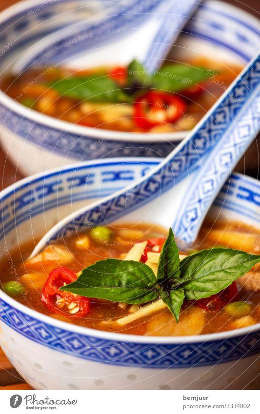 chinesische Süß-Sauer Suppe Fleisch Gemüse Eintopf Kräuter & Gewürze Mittagessen Abendessen Restaurant heiß lecker rot sauer Küche asiatisch Mahlzeit Chinesisch