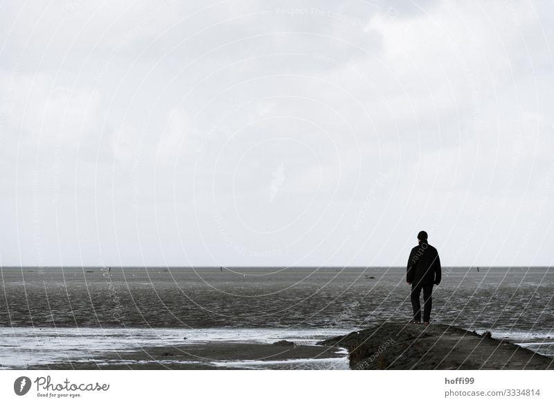 im Winter am Meee Mensch Himmel Natur Meer Einsamkeit Strand Erwachsene Herbst Küste Freiheit Horizont maskulin Insel stehen warten